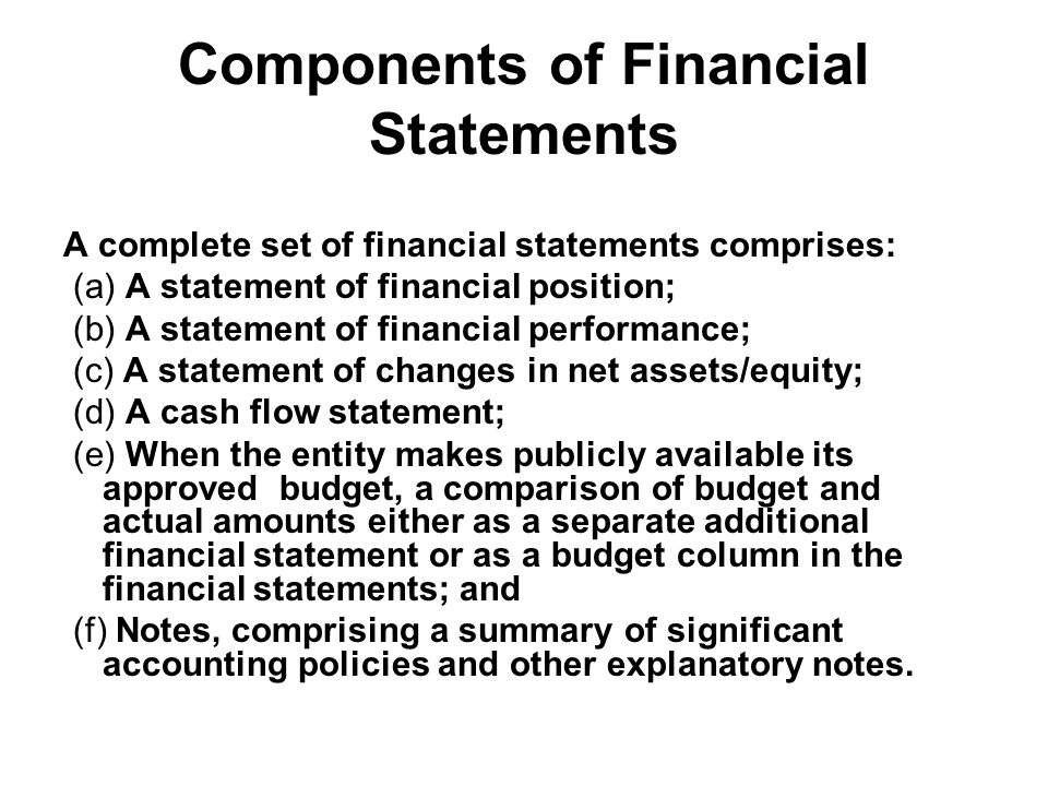 Components of Financial Statements